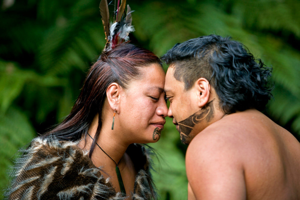 A beloved, traditional greeting between a Maori man and woman.
