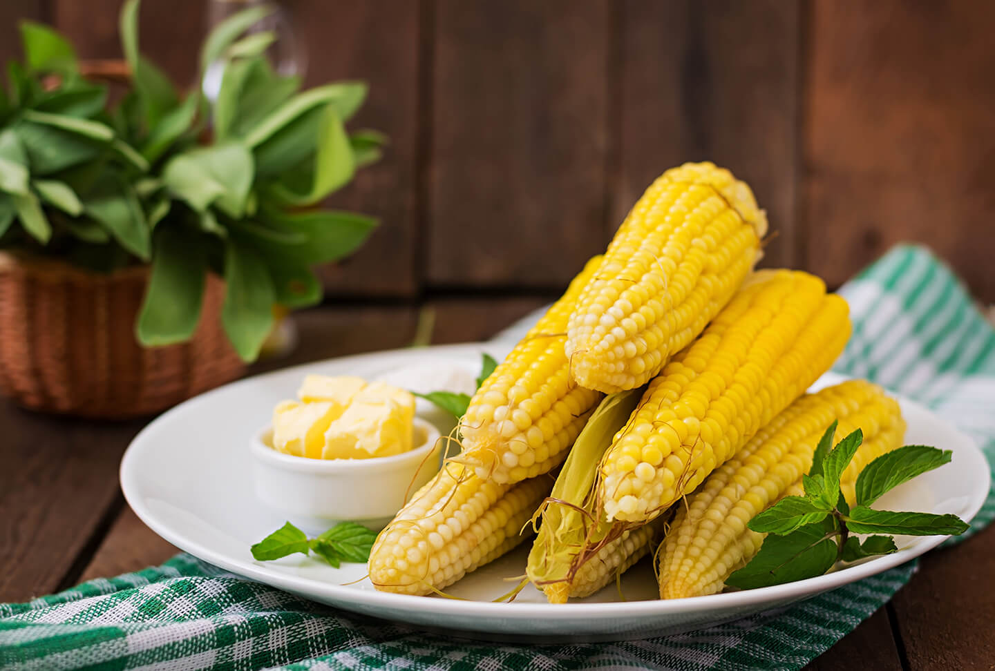 A fresh plate of cooked corn on the cob with a small dish of butter on the side.