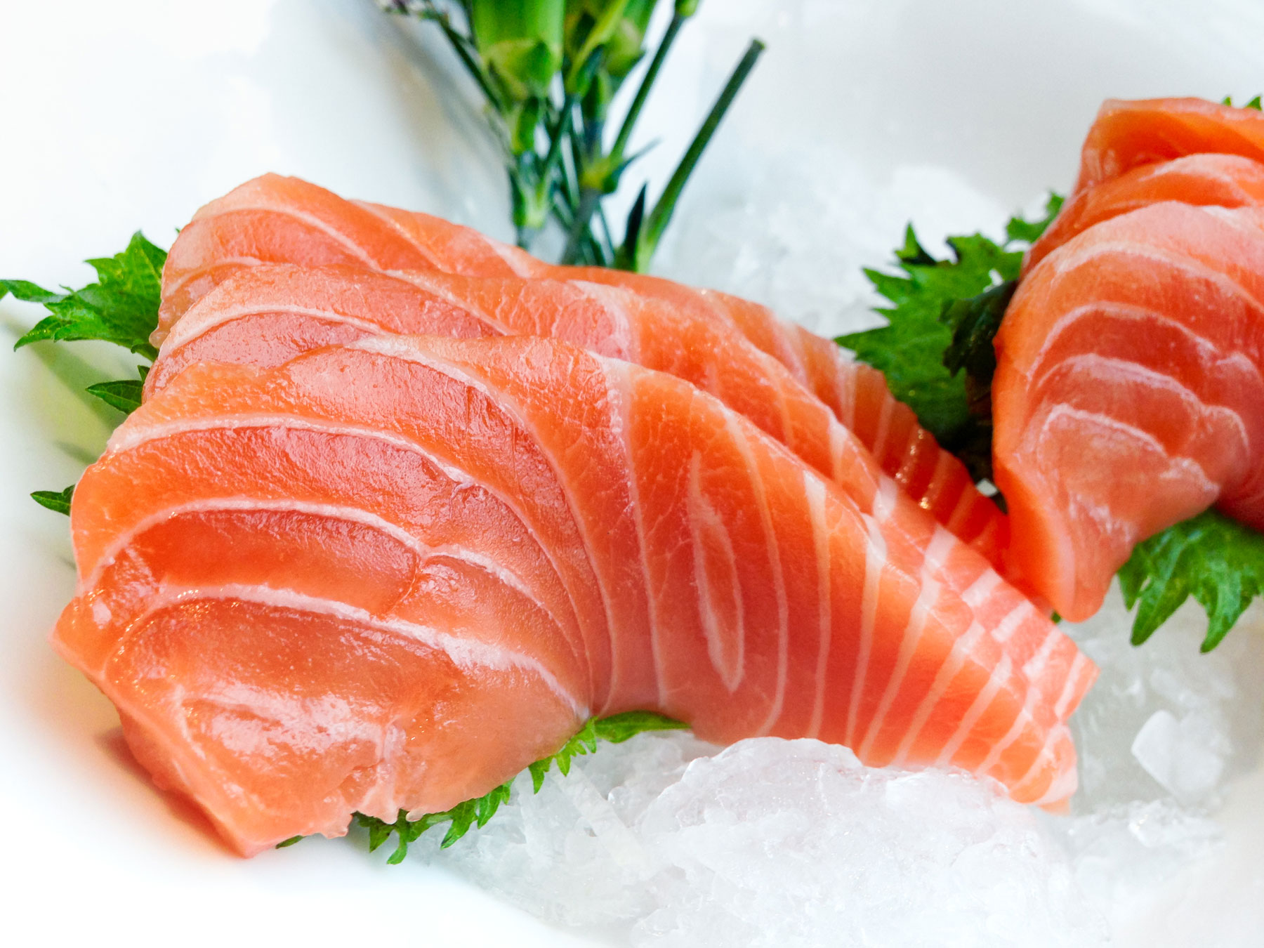 Raw, fresh salmon resting on clean, crushed iced.