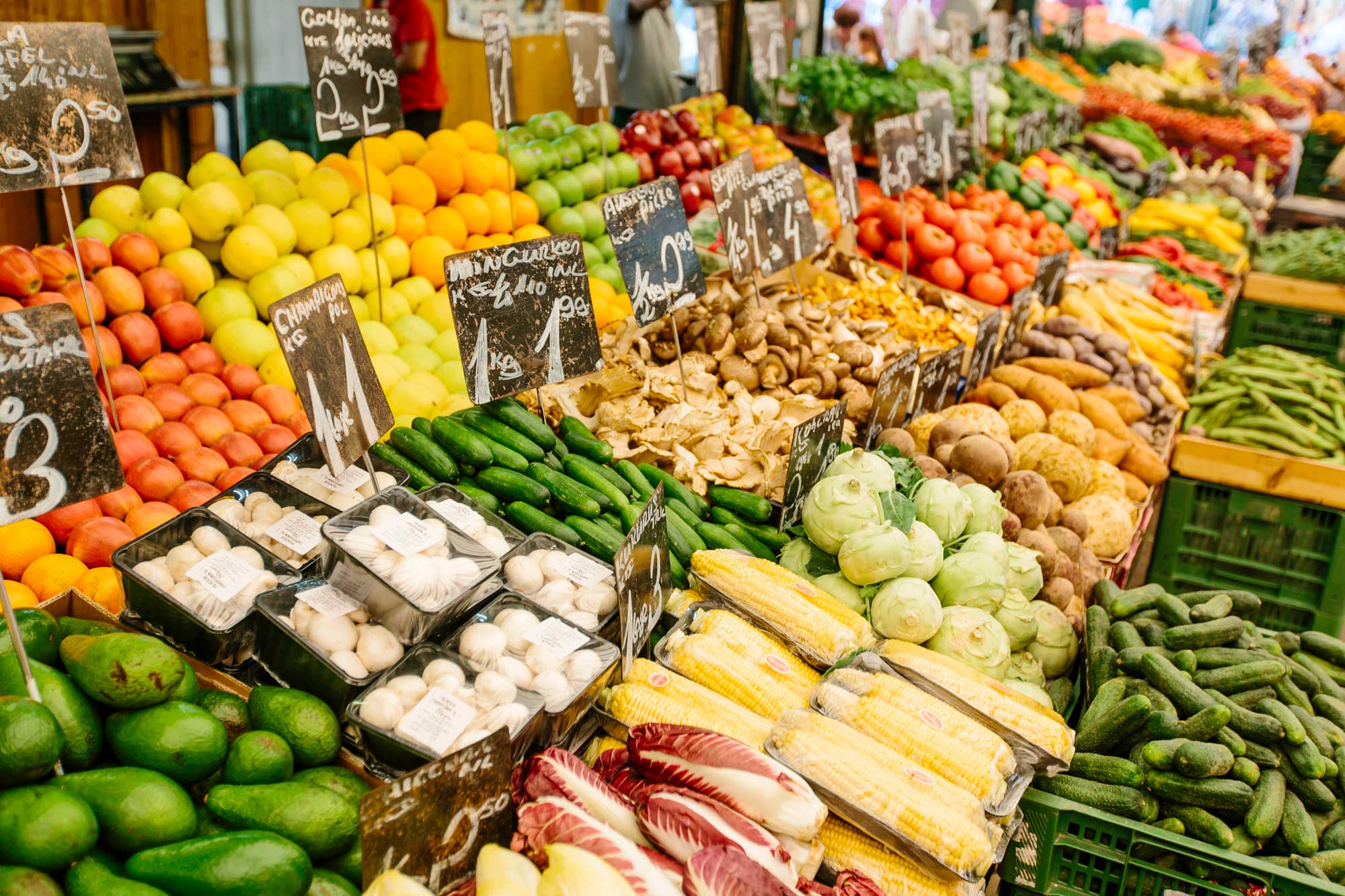Seemingly endless displays of various fruits and vegetables.