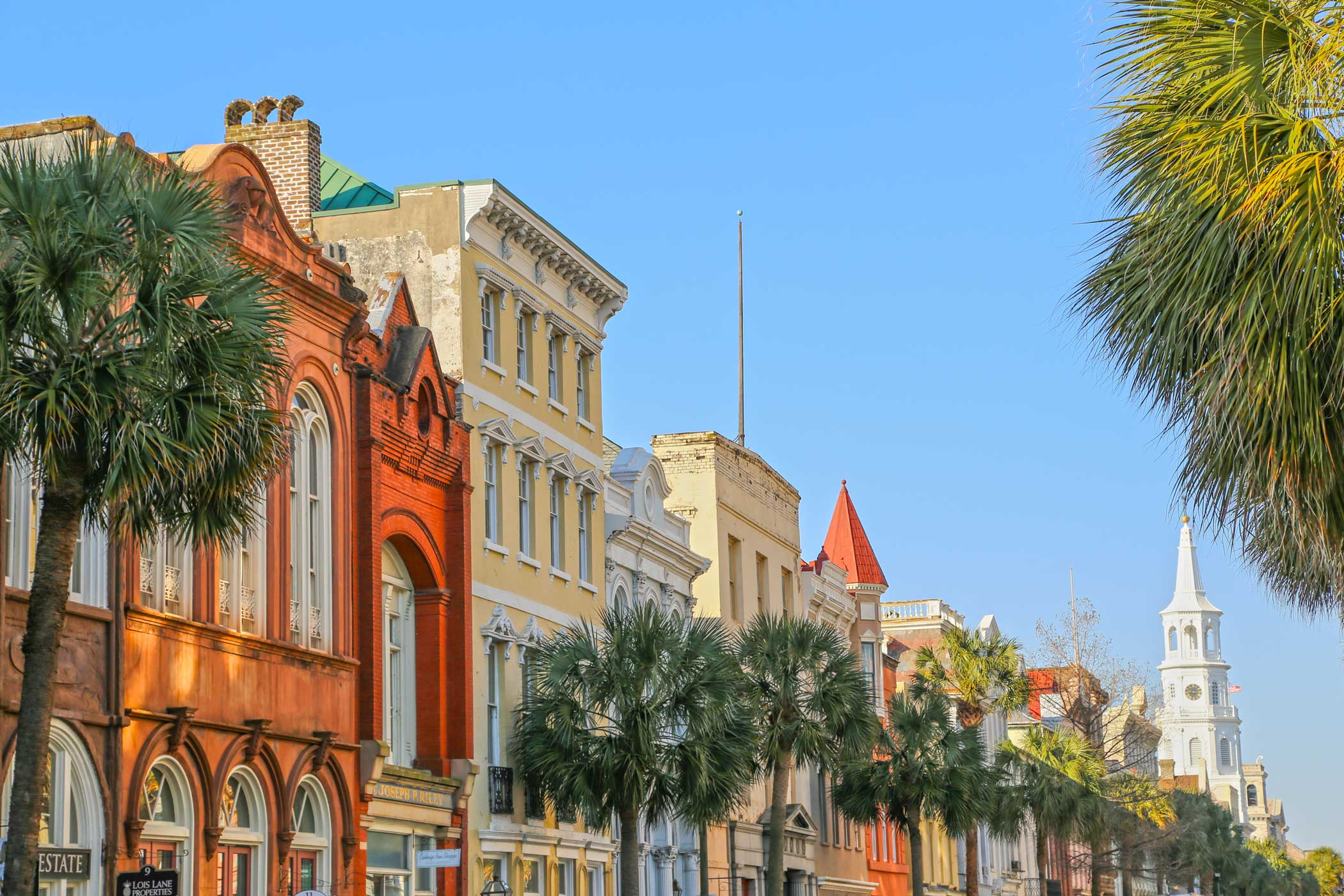 A colorful view of Charleston's historic buildings and lively palm trees.
