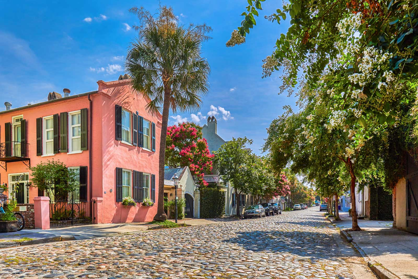 A bright, sunny vew of Charleston's colorful neighborhoods.