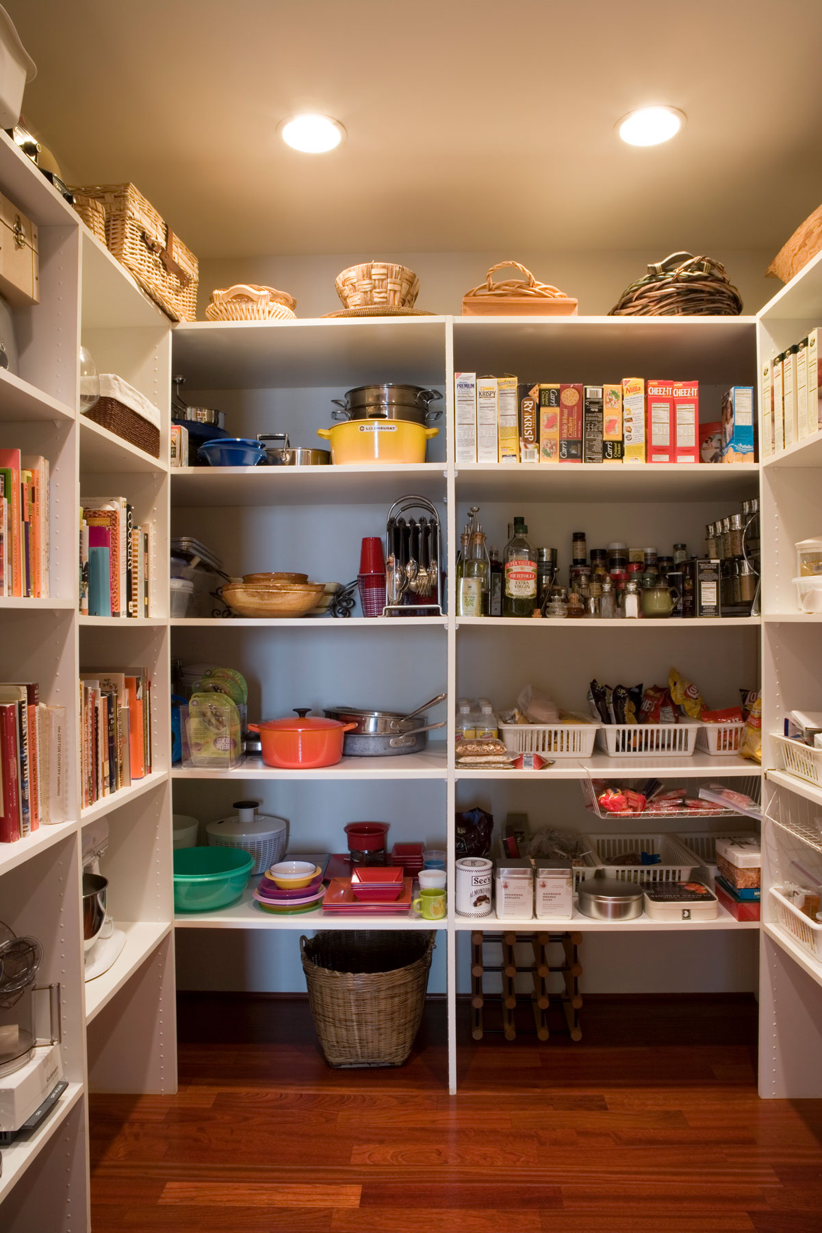 A very organized kitchen pantry filled with all the essentials.