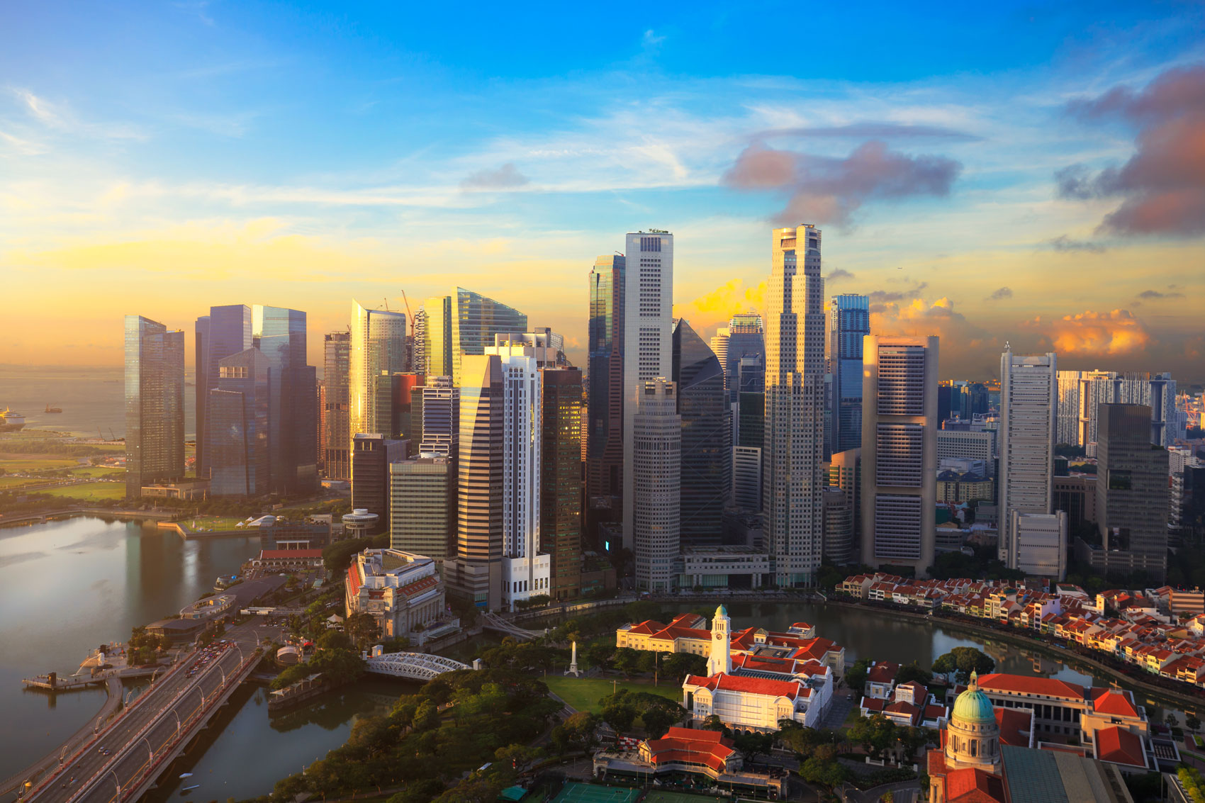 The beautiful cityscape of Singapore basked in the afternoon sun.