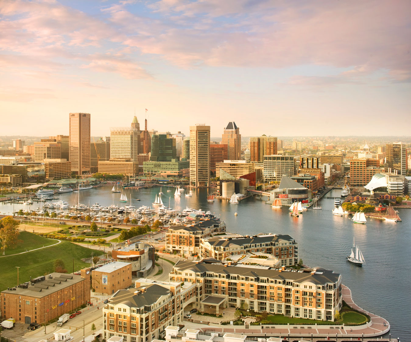 A beautiful afternoon cityscape of Baltimore, Maryland.