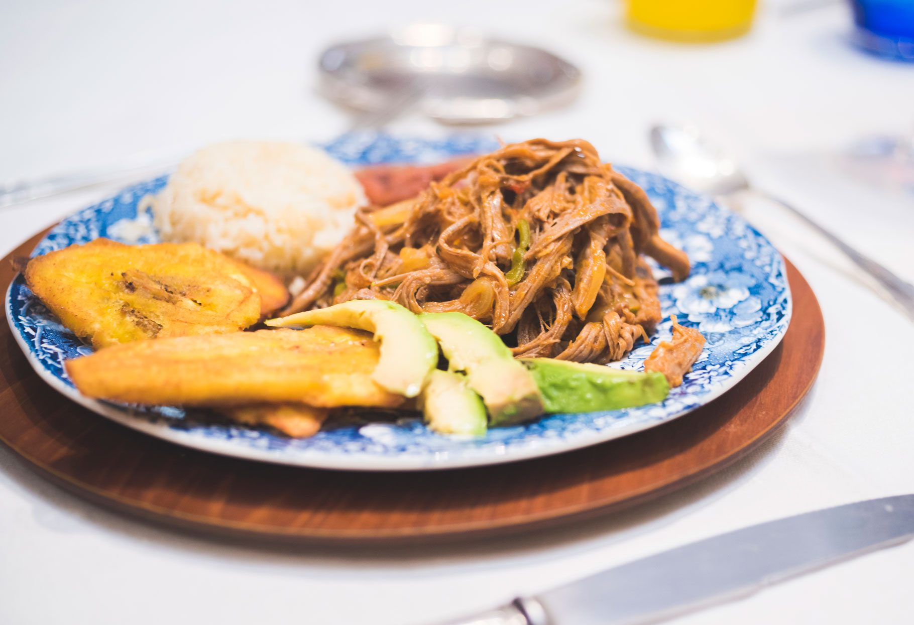 A full plate of ropa vieja, a popular Caribbean dish.