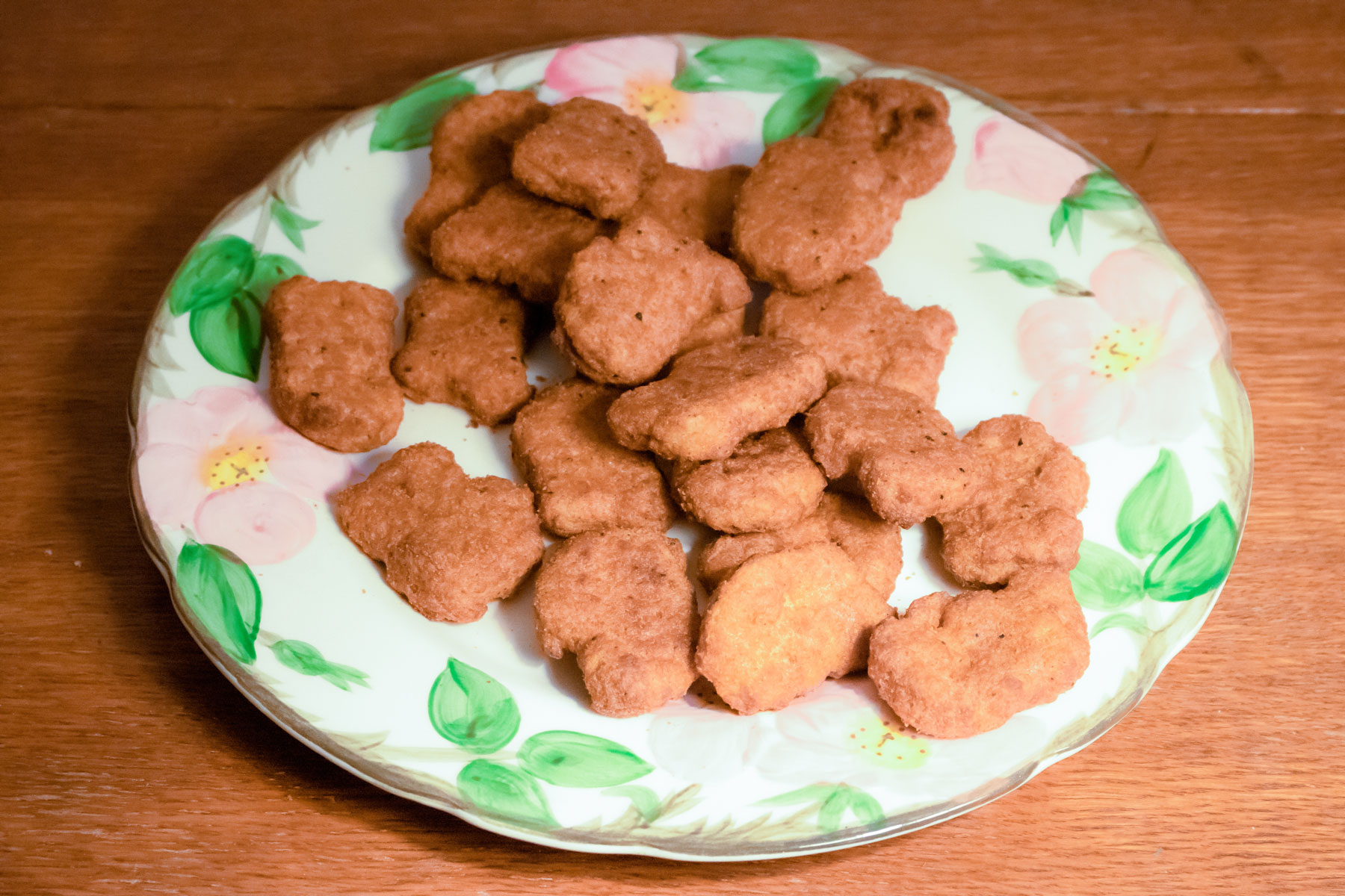 A delicate plate filled with Nuggs' plant-based nuggets.