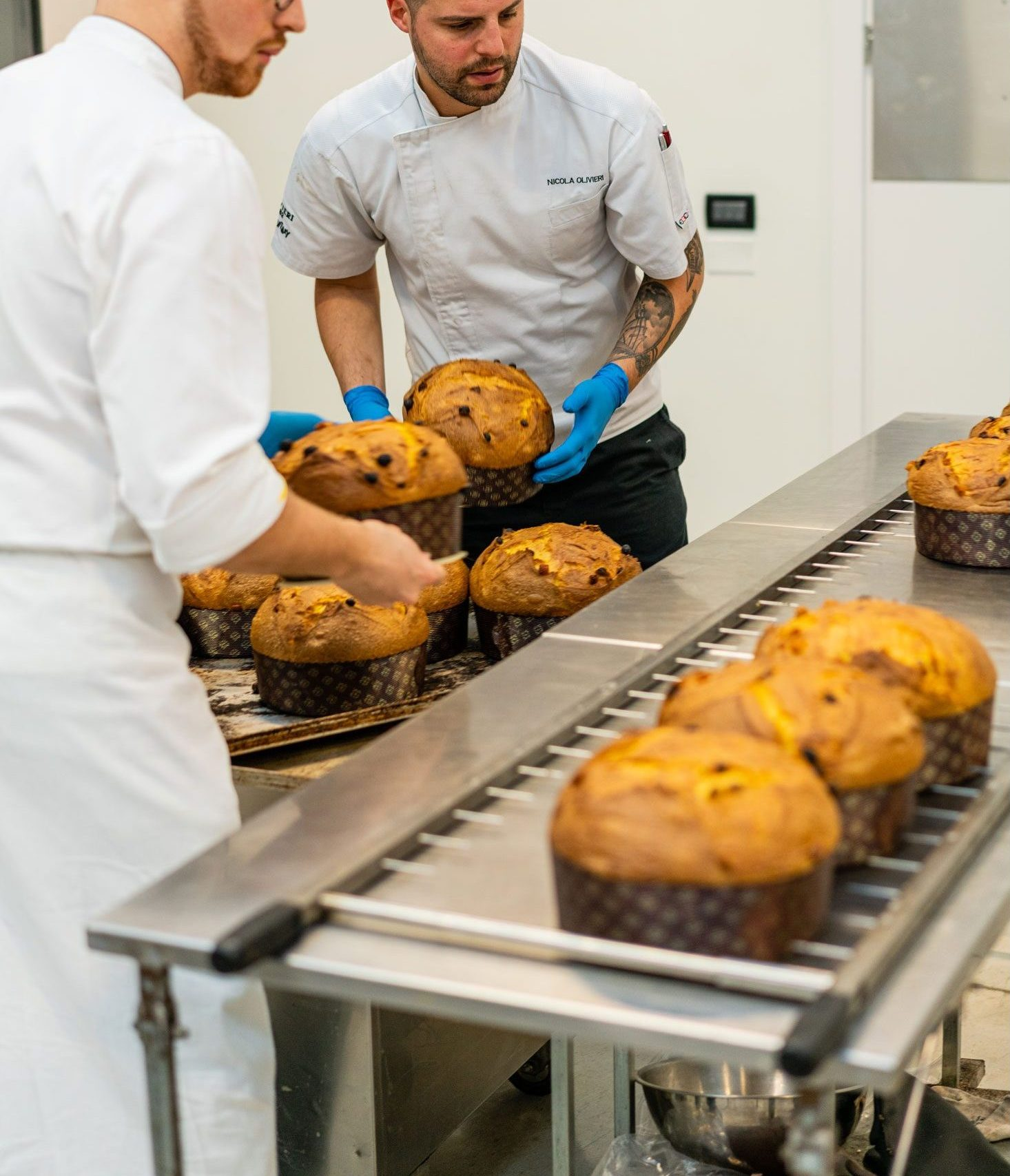 Bakers delicately handling baked panettones on an assembly line.