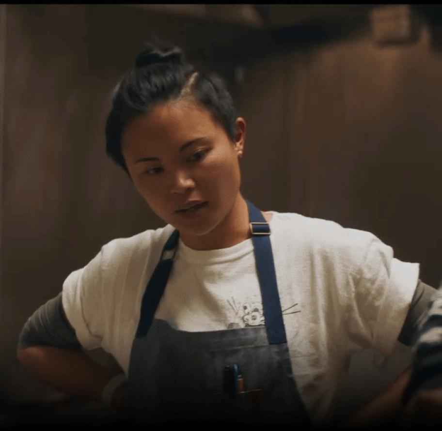 Marielle Fabie overseeing her kitchen.