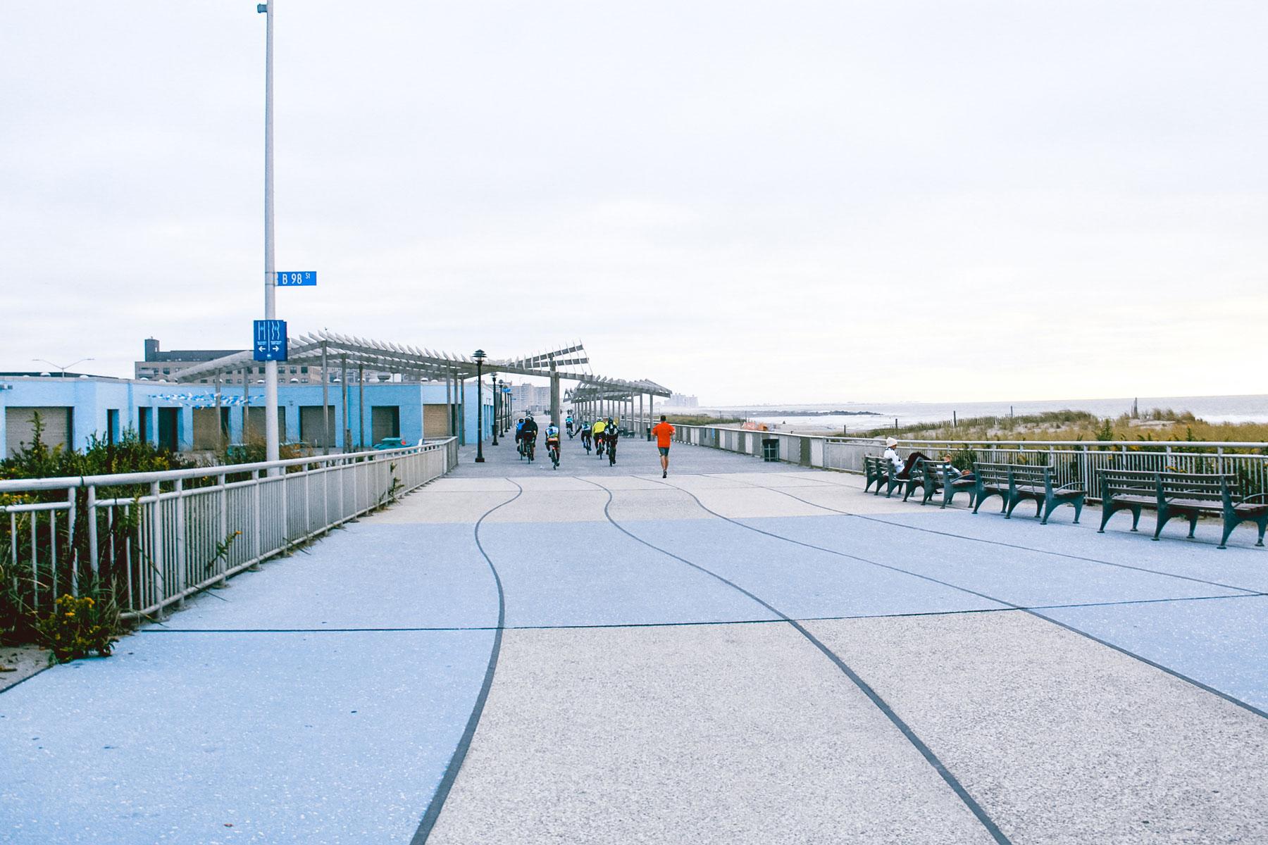 Boardwalk along a beach.