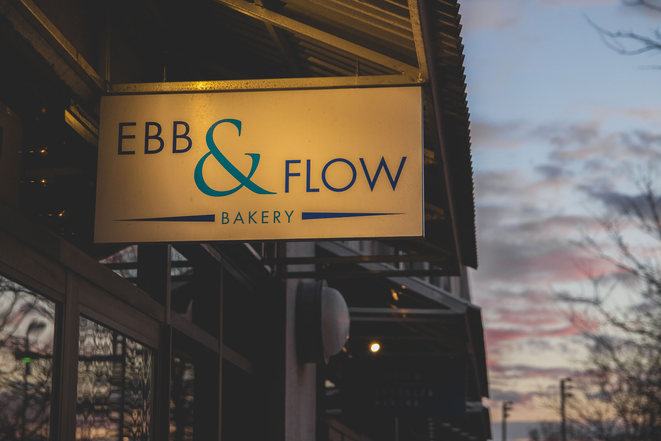 The sign for Ebb & Flow Bakery.