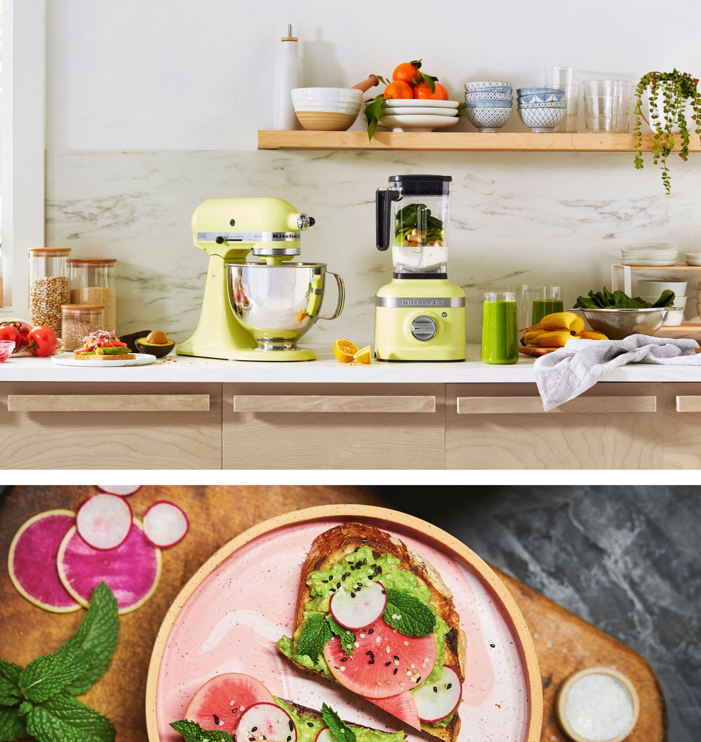A Stand Mixer and Blender in Kyoto Glow paired with a plate of decadent avocado toast.