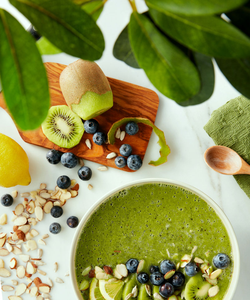 A bowl filled with a goddess green smoothie.