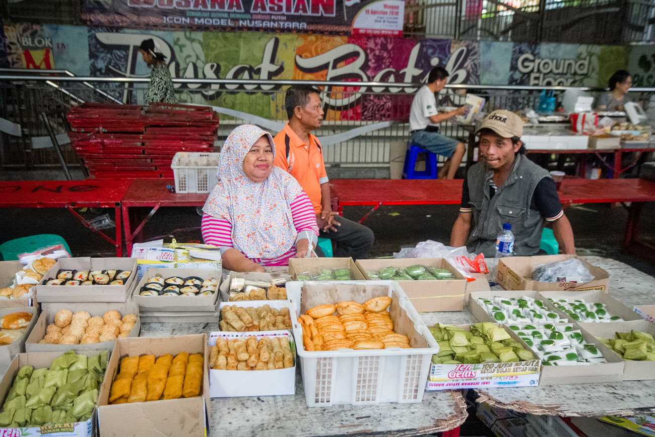 Vendors proudly displaying their Indonesian eats.