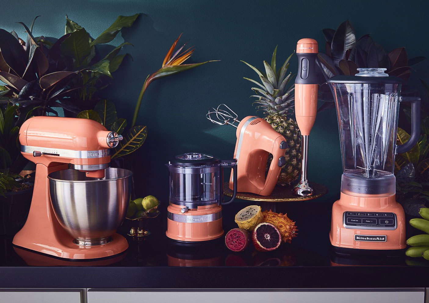 The KitchenAid® Collection of Bird Of Paradise appliances.