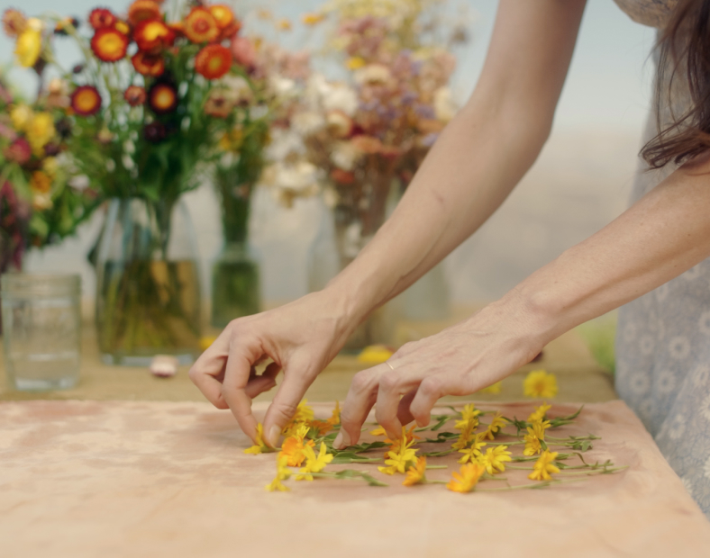 Loria Stern cleaning small, freshly picked flowers.