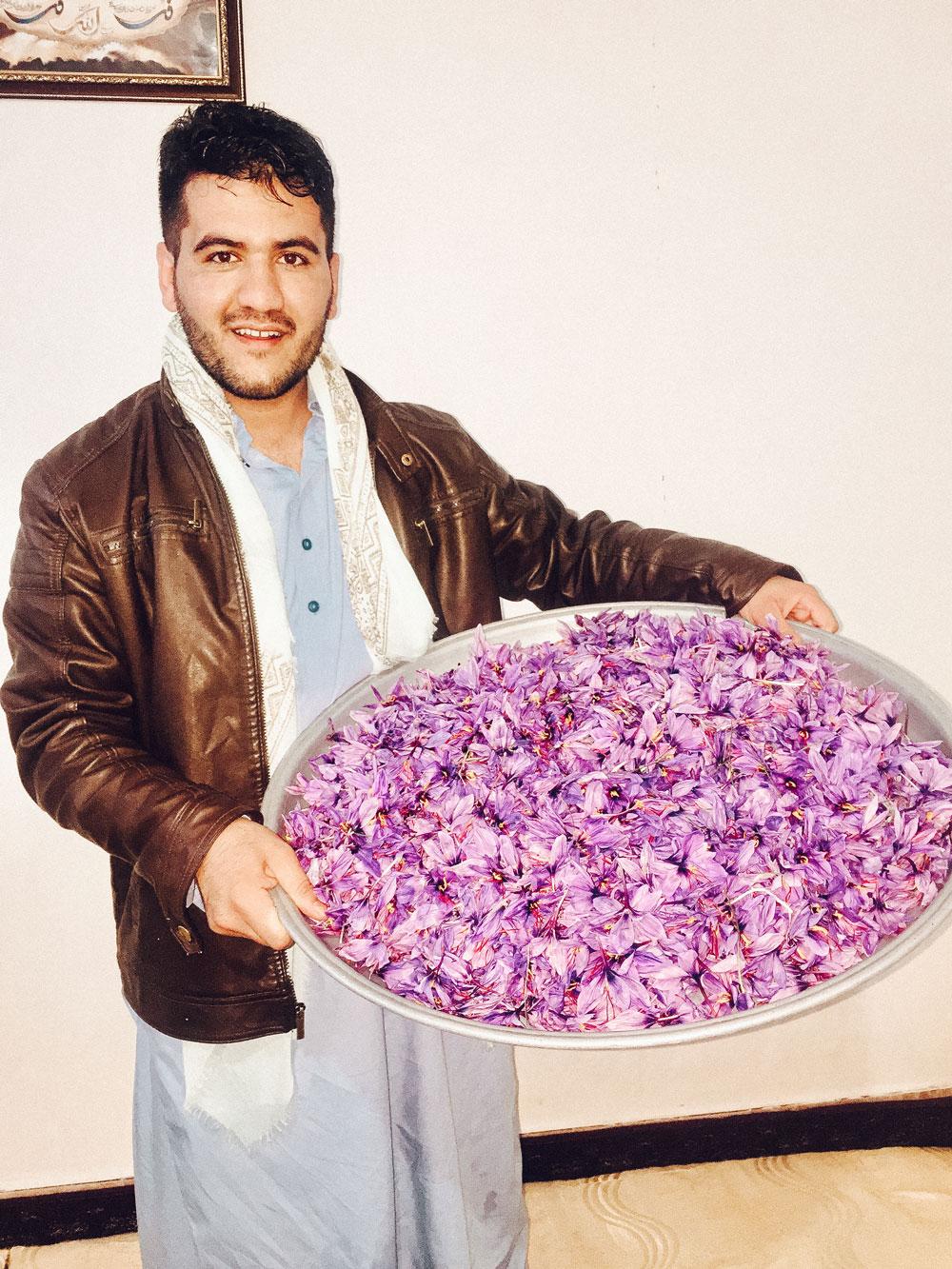 Mohammad Salehi holding a large bowl of Crocus Satvis flowers.