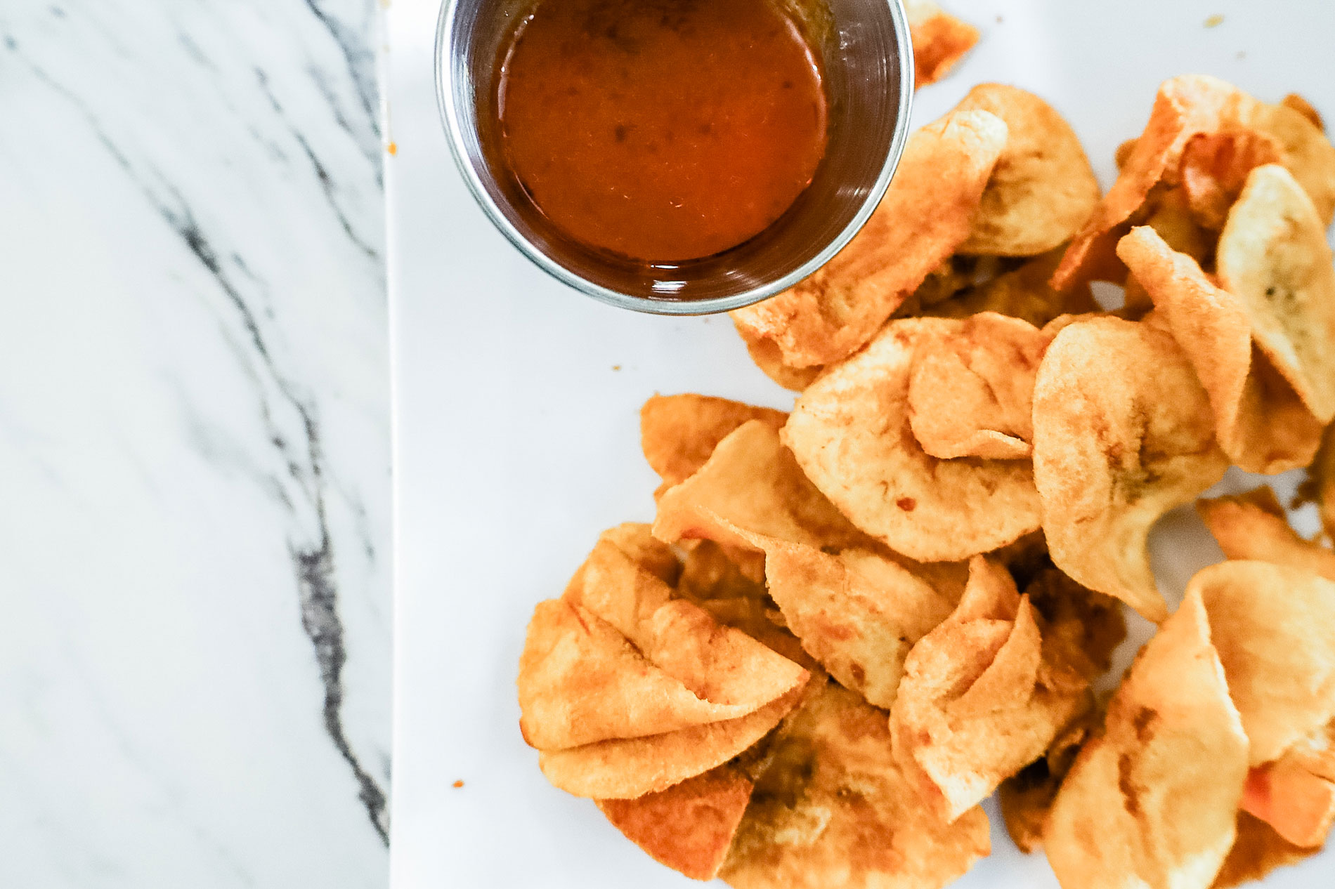 A plate of fried plantain chips.
