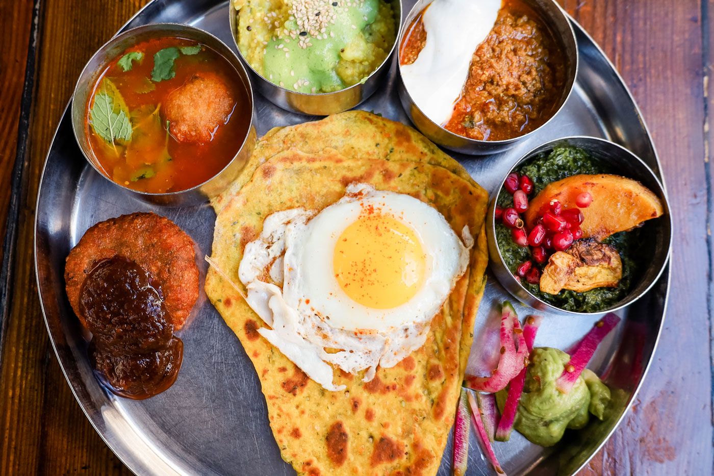 A large tray of morning thali.