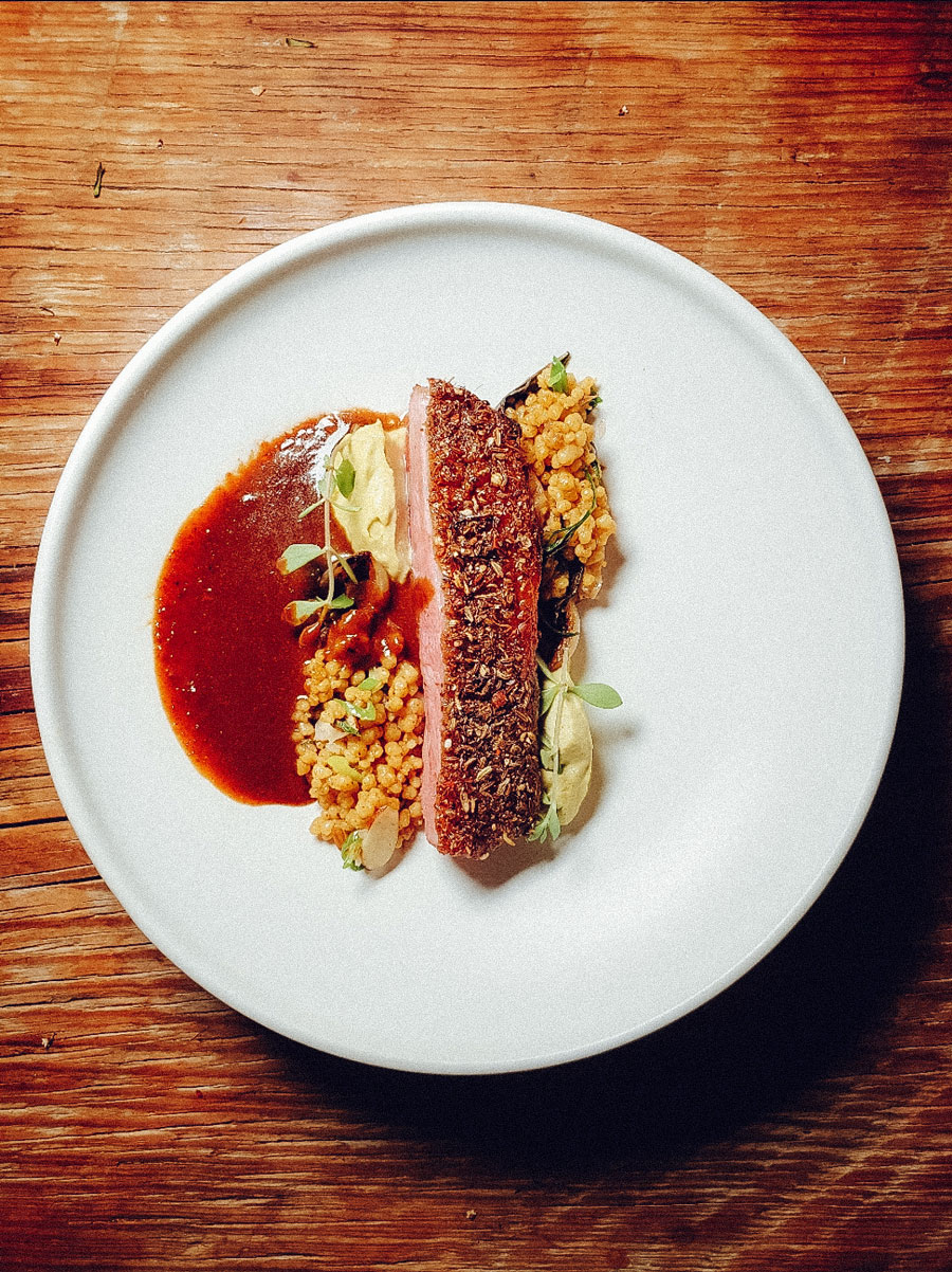 A slice of seared duck resting a bed of cous cous with sauce.