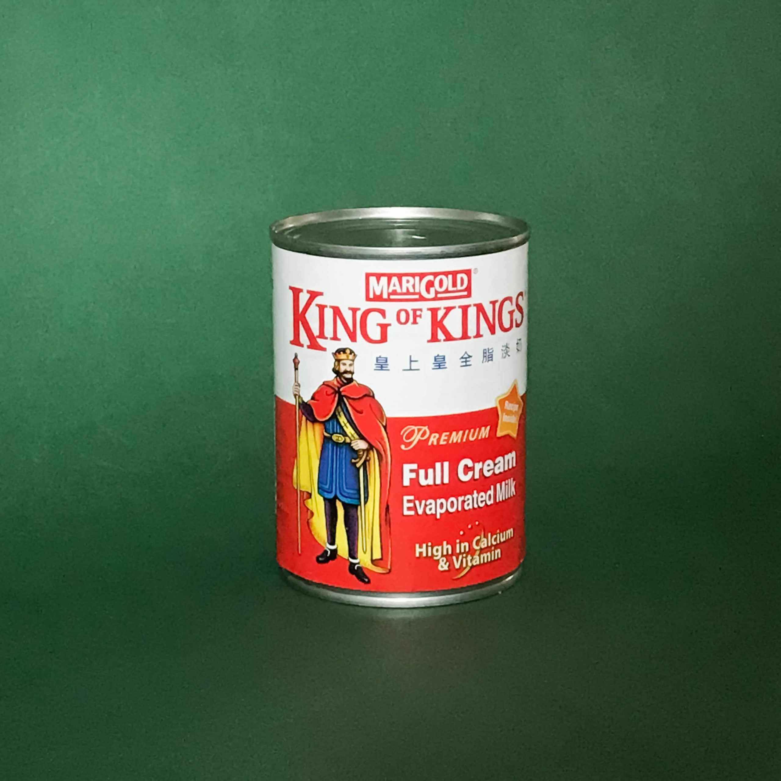 A can of Marigold King of Kings Full Cream Evaporated Milk.