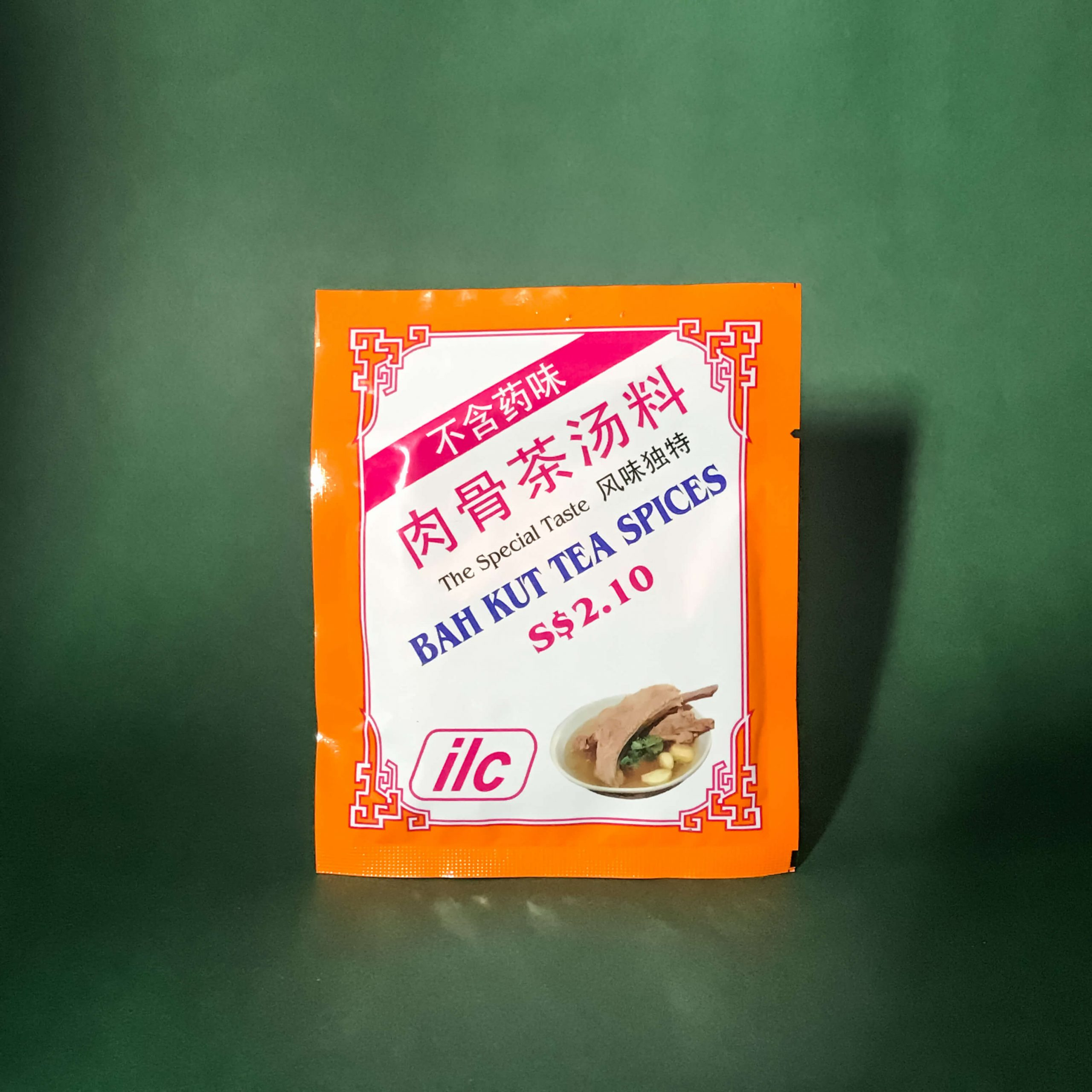 A small packet of ILC Bah Kut Tea Spices.