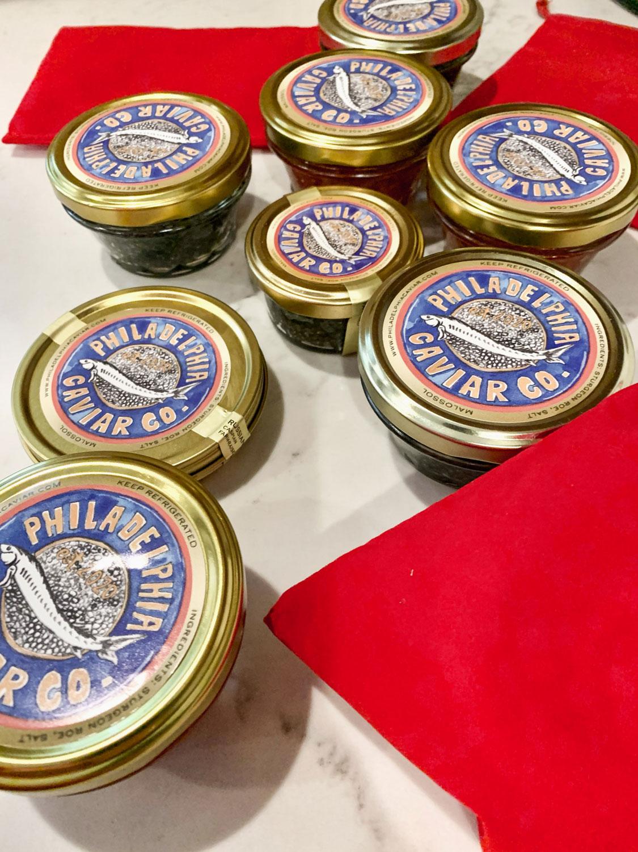 Small jars of caviar.