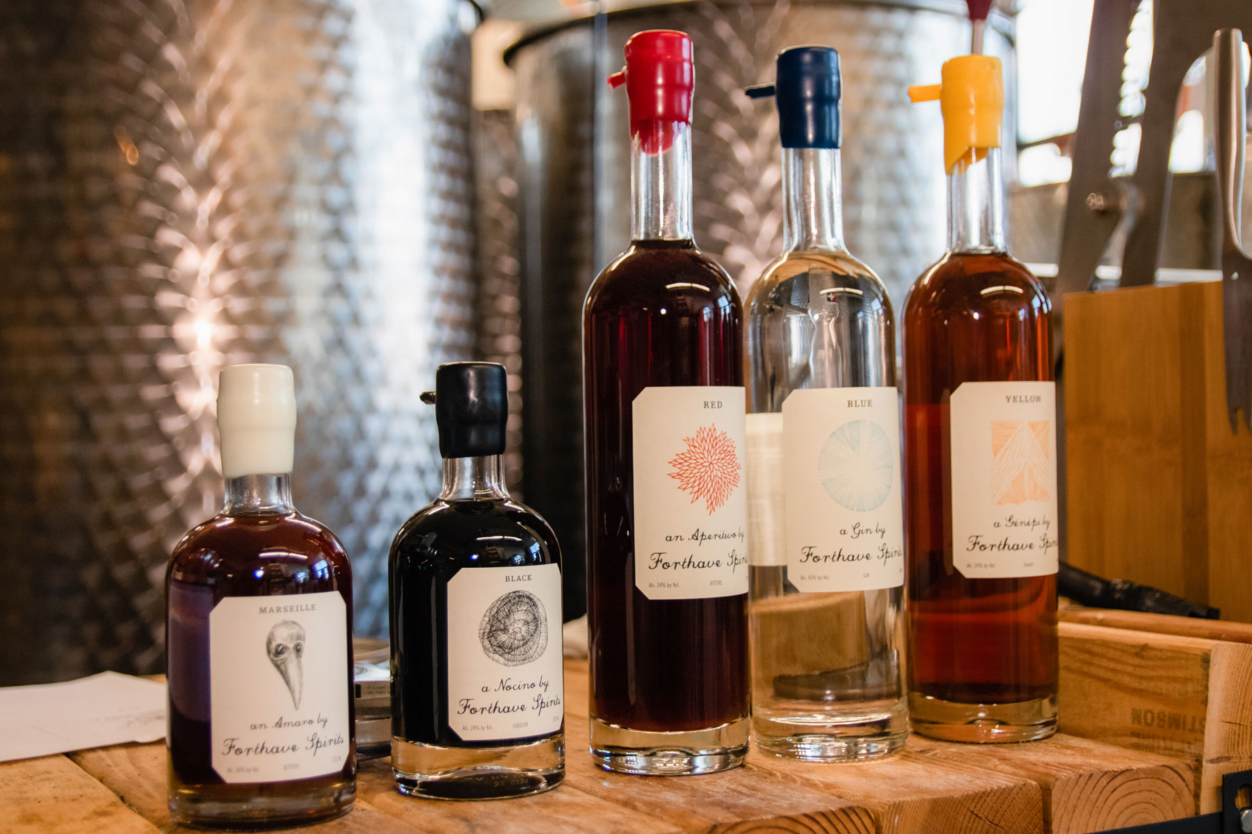 A selection of liquor bottles from Forthave Spirits.