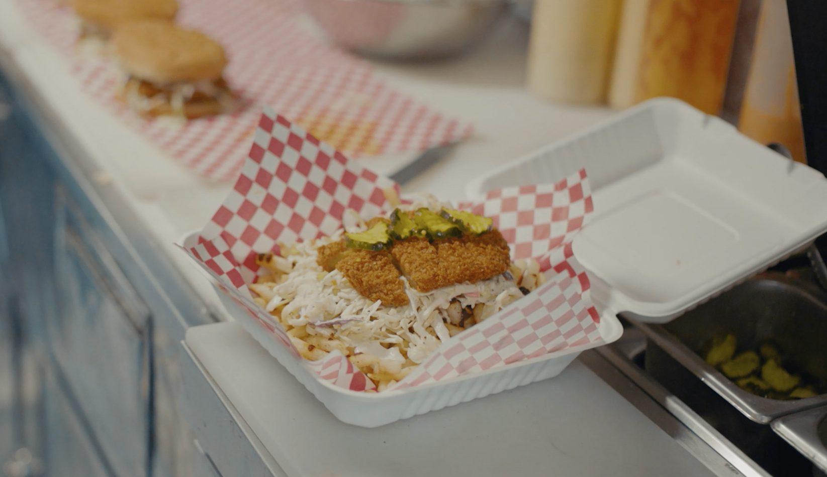 A vegan chicken sandwich from Woflie's Nashville Hot Chicken.