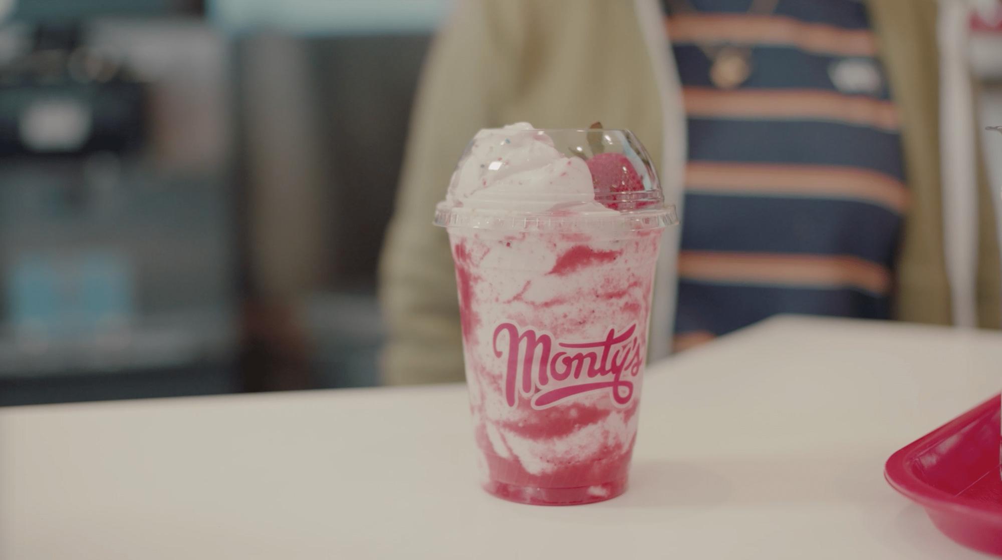 A strawberry shake from Monty's Good Burger.