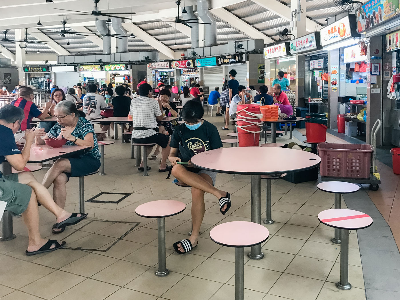 The hustle and bustle of a Hawker Centre.