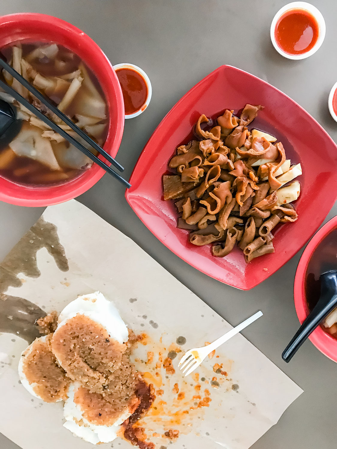 Unique Asian foods resting on a table.