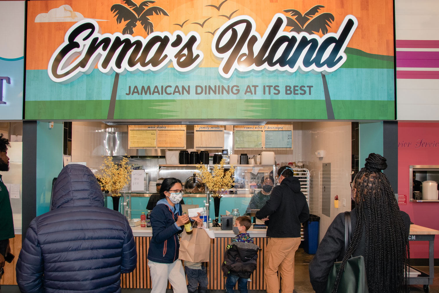 The colorful interior of Erma's Island, Jamaican Dining At Its Best.