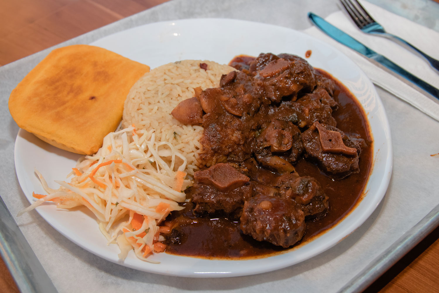 A plate of hearty, delicious Jamaican food.