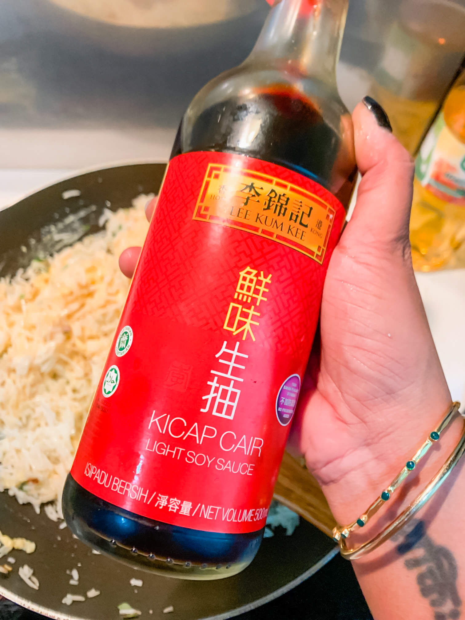 A large bottle of light soy sauce.