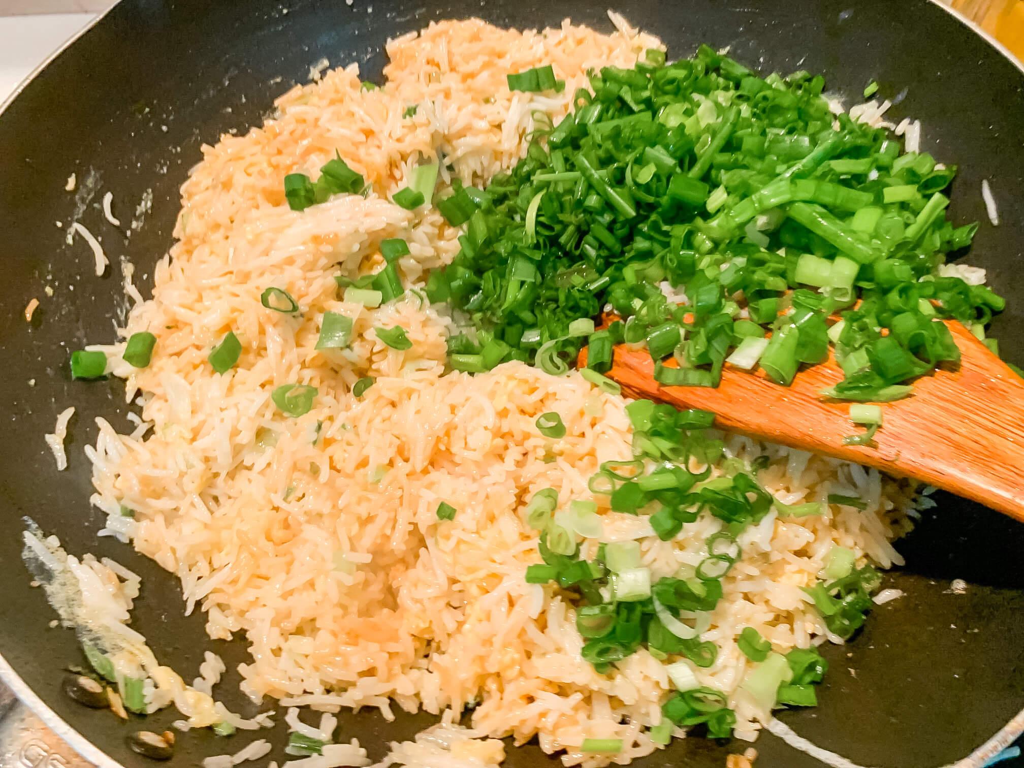 Freshly made egg fried rice.