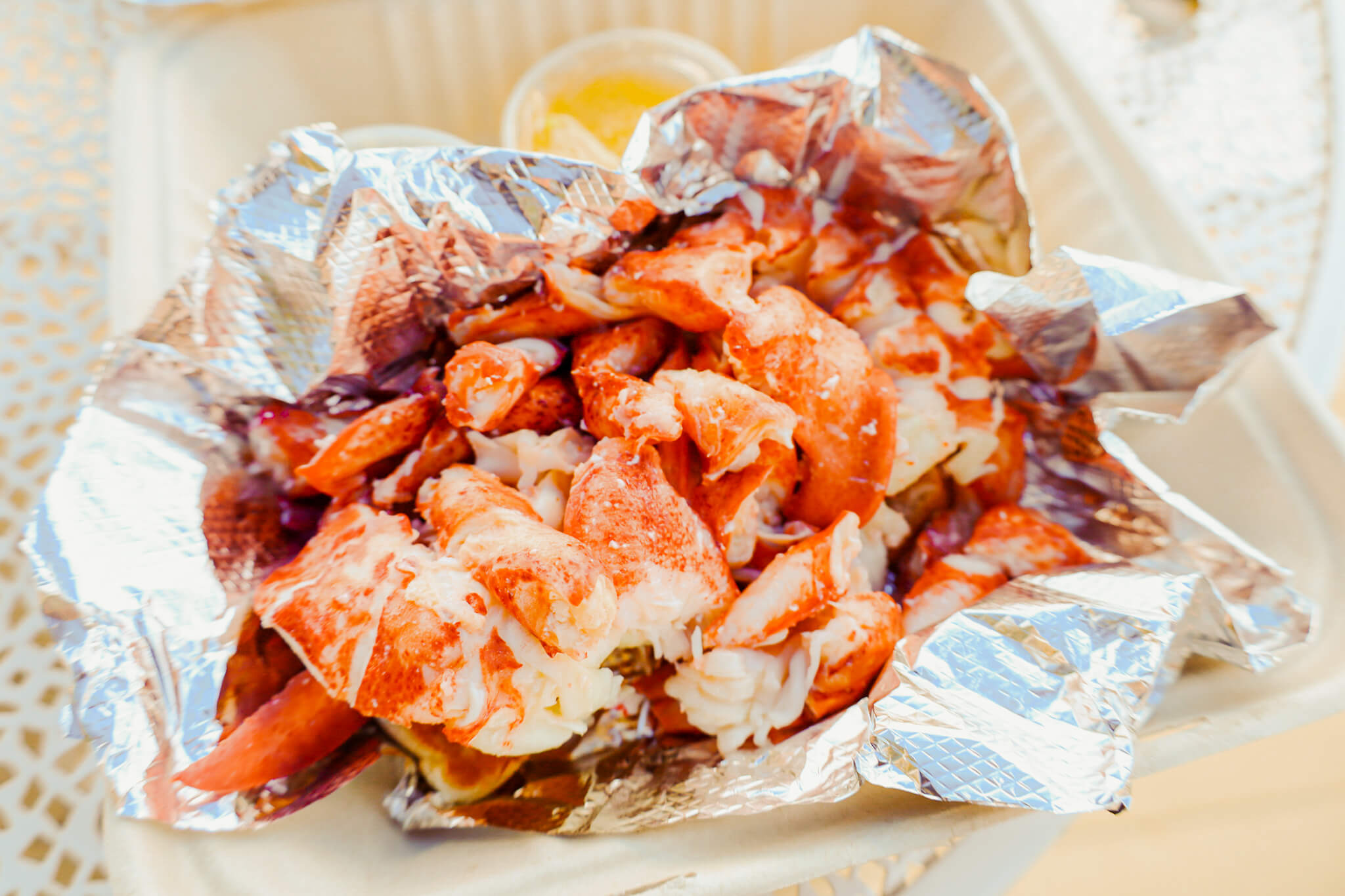 A pile of buttery lobster.