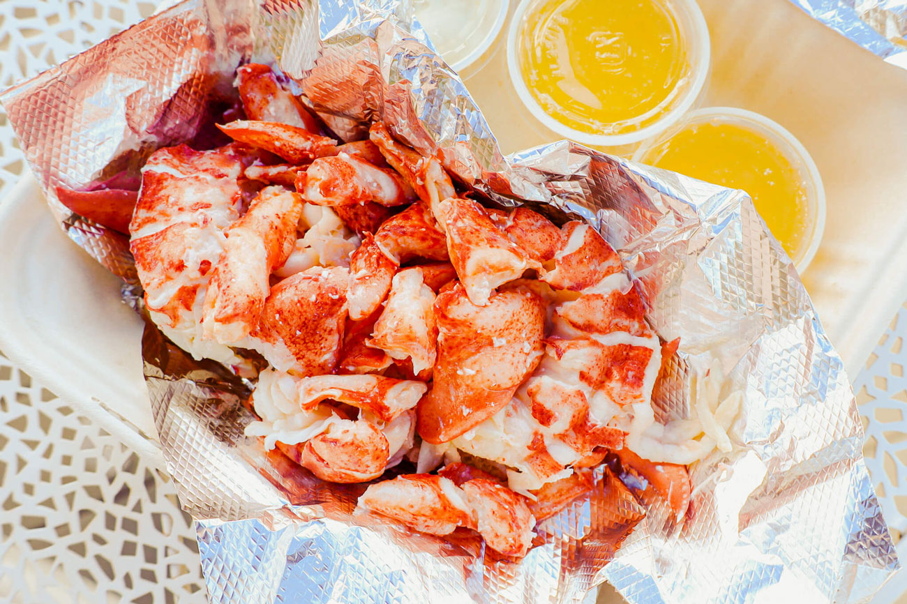 A freshly made lobster roll.