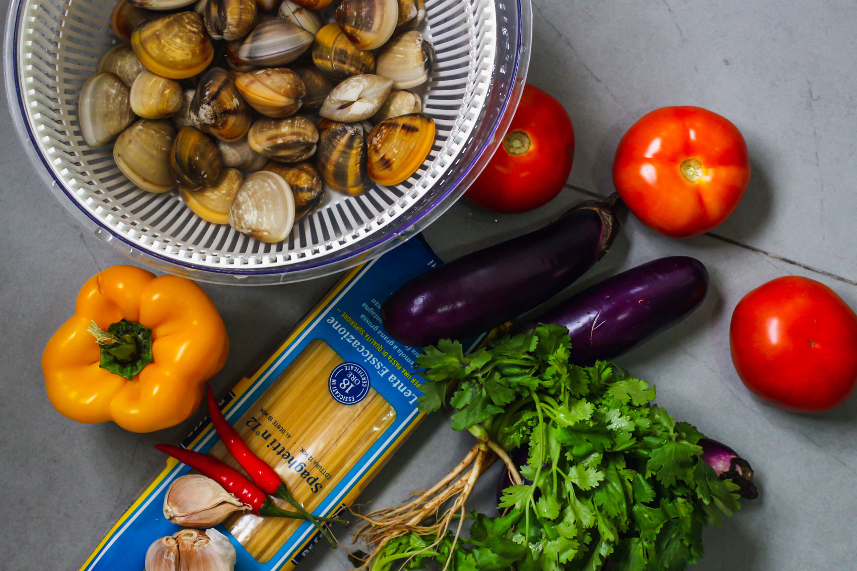 Some of the ingredients used for Spicy Clam Pasta.