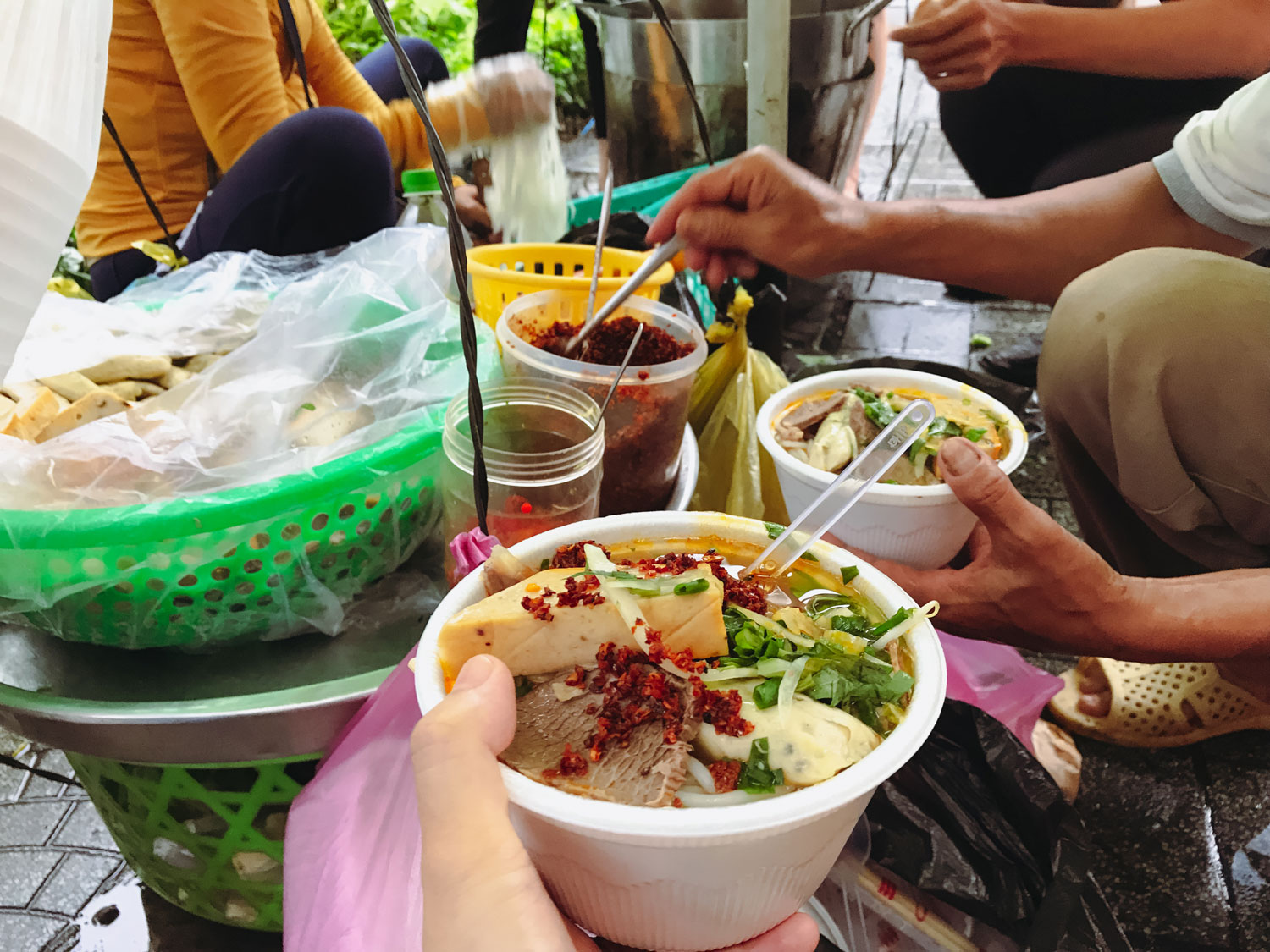 A busy food stall in Ho Chi Minh City.