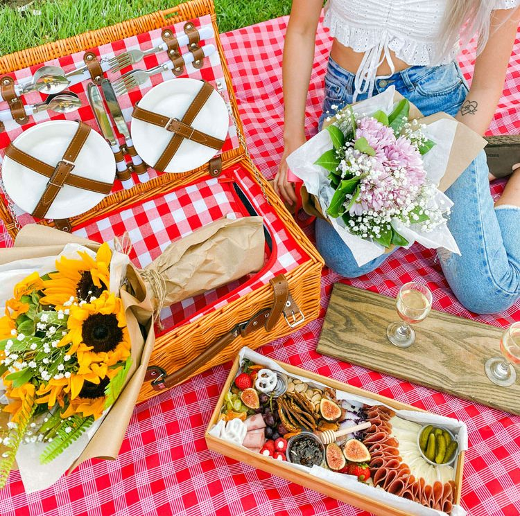A romantic picnic setting.