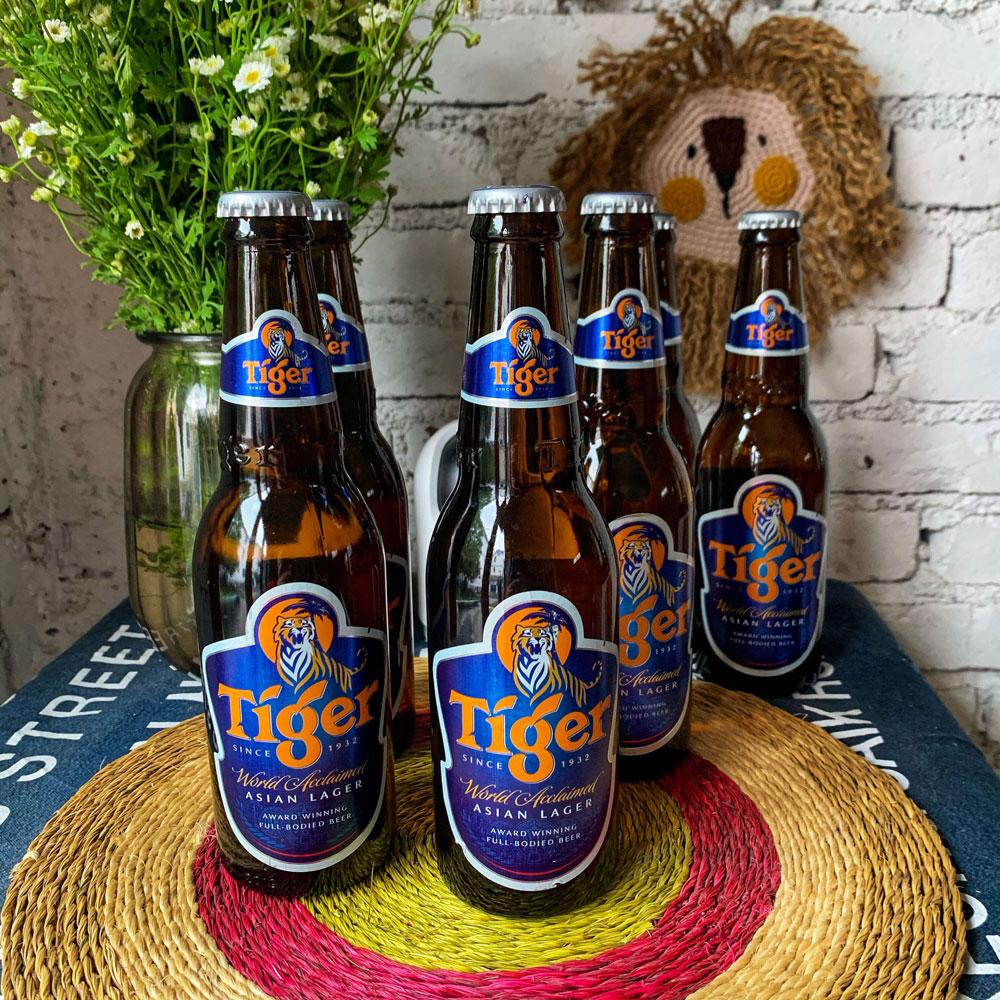 Bottles of Tiger Lager.