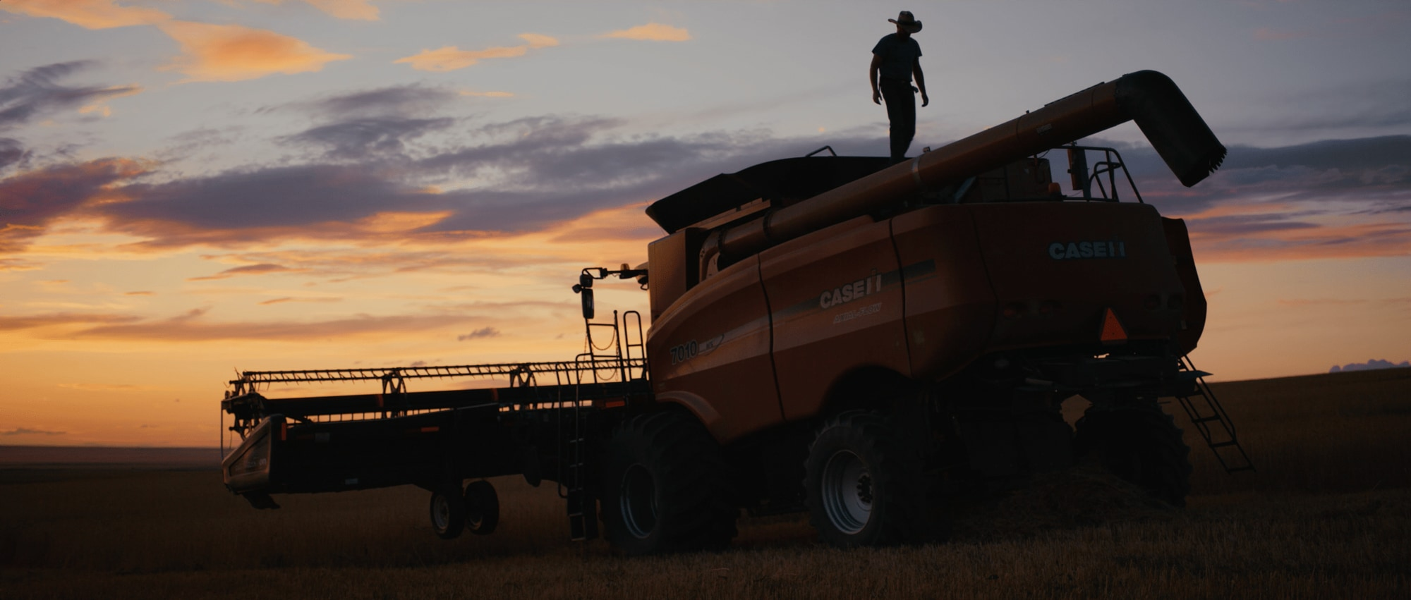 A harvester vehicle.