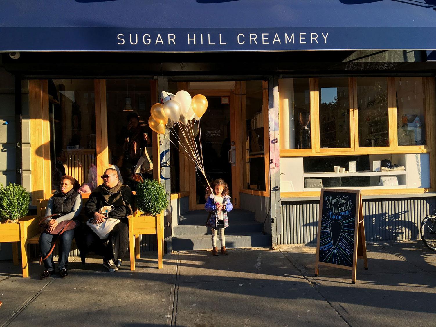 Customers waiting outside of Sugar Hill Creamery.